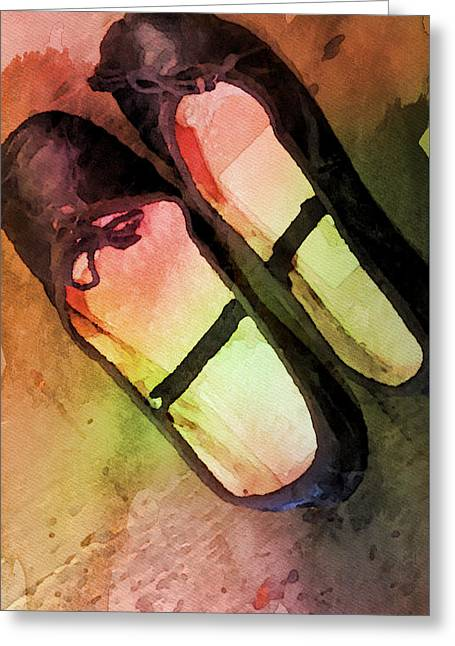 Ballet Slippers Greeting Card by Bonnie Bruno