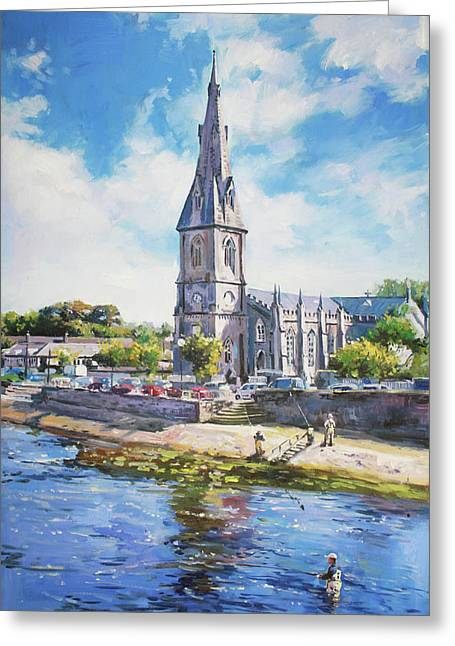 Salmon Paintings Greeting Cards - Ballina Cathedral on River Moy Greeting Card by Conor McGuire