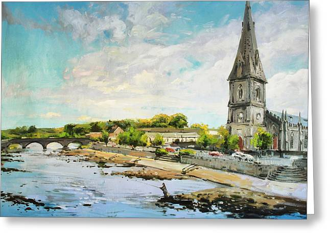 Best Sellers -  - Salmon Paintings Greeting Cards - Ballina On The Moy 11 Greeting Card by Conor McGuire