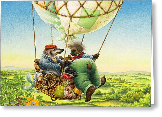 Ballon Ride Greeting Card by Lynn Bywaters