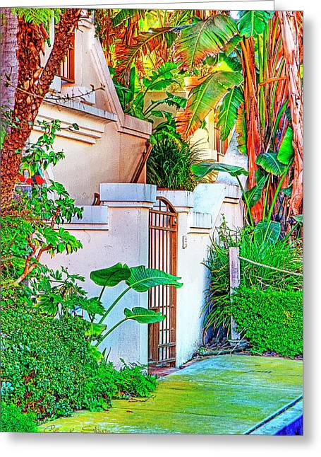Ballona Lagoon Gate Greeting Card by Chuck Staley