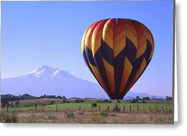 Balloon And Mt. Shasta Greeting Card