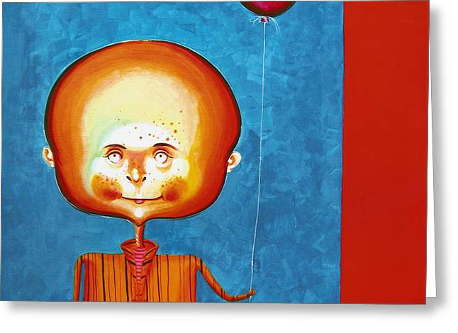 Balloon Boy - Acrylics On Canvas Greeting Card