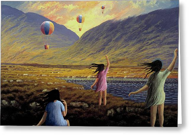 Balloon Children Greeting Card by Alan Kenny