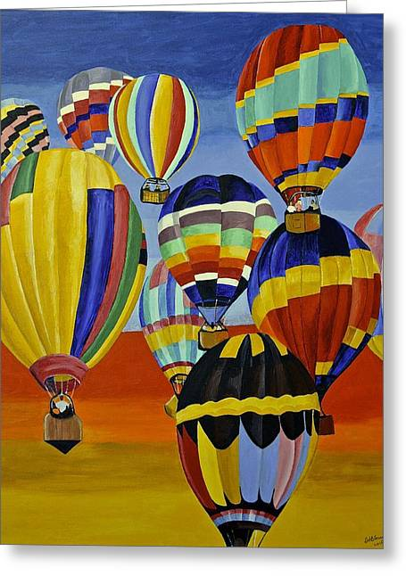 Balloon Expedition Greeting Card by Donna Blossom