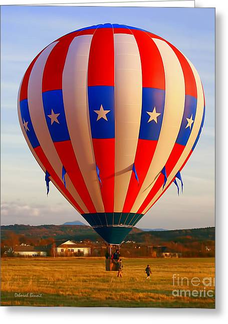 Balloon Landing Greeting Card by Deborah Benoit