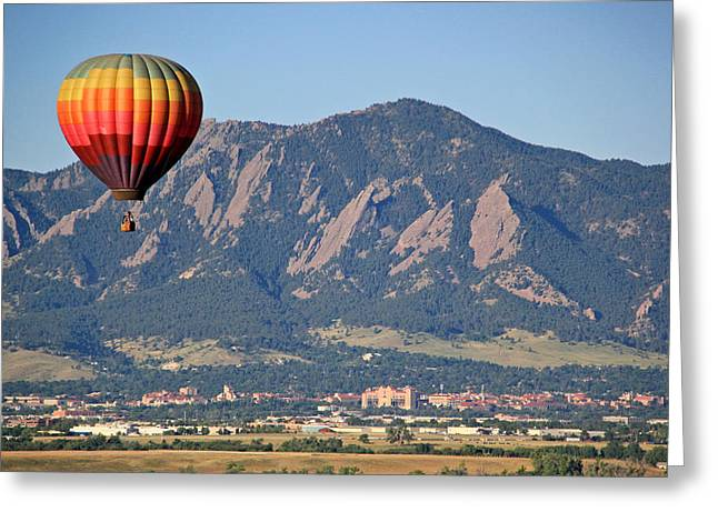 Cu Boulder Greeting Cards - Balloon Over Flatirons and CU Greeting Card by Scott Mahon