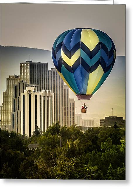 Balloon Over Reno Greeting Card by Janis Knight