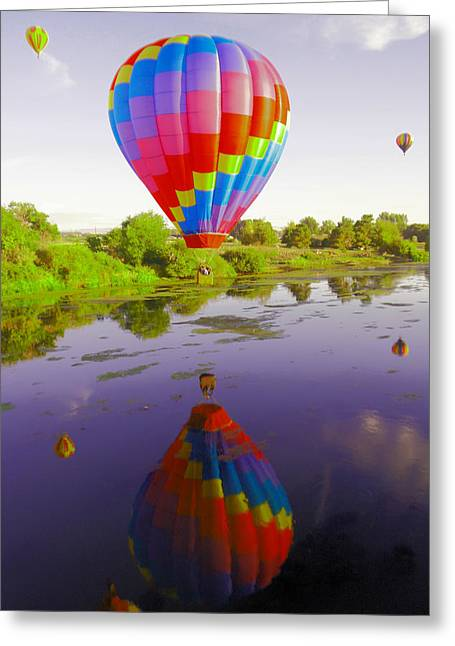 Balloon Reflecting In The Water Greeting Card