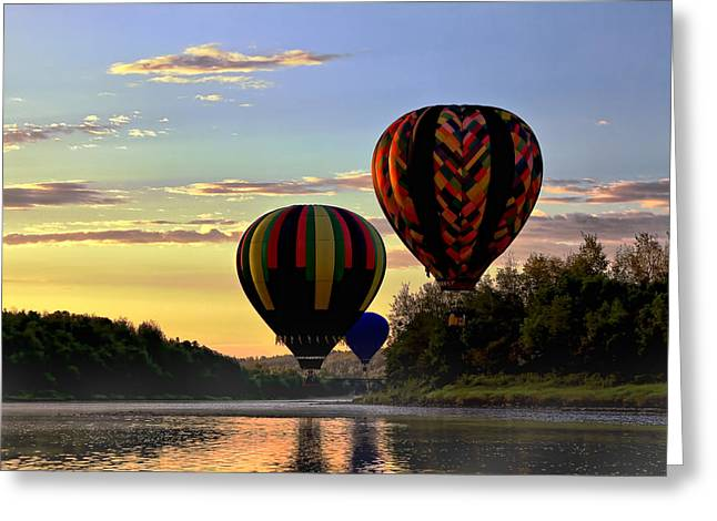 Balloon River Flight Greeting Card by Gary Smith