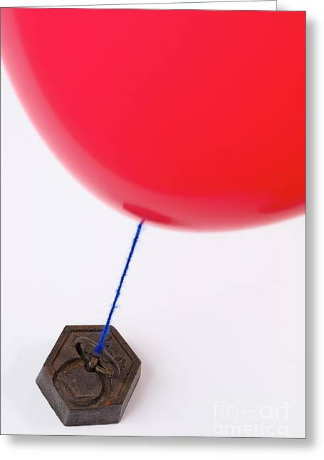 Balloon Tied To Weight Greeting Card