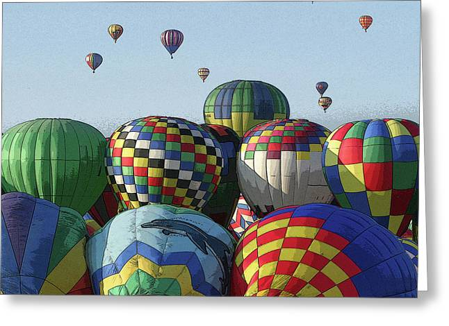 Balloon Traffic Jam Greeting Card by Marie Leslie