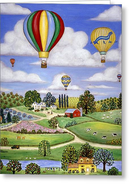 Ballooning In The Country One Greeting Card by Linda Mears