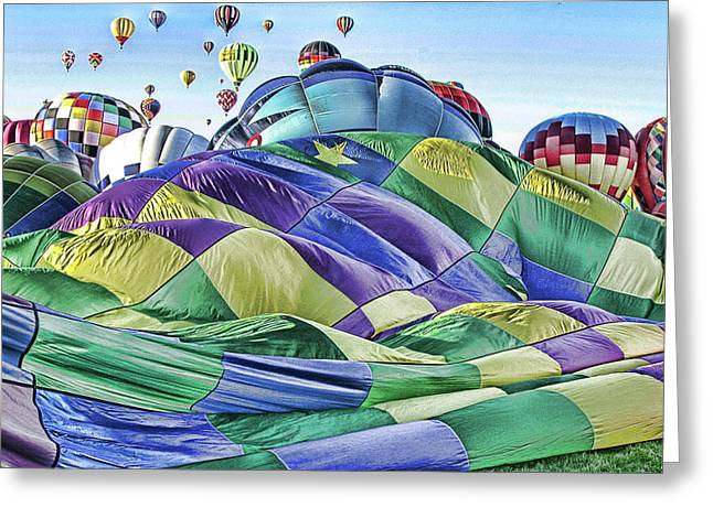 Ballooning Waves Greeting Card by Marie Leslie
