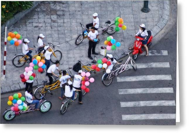 Balloons And Bikes Greeting Card by Cameron Wood