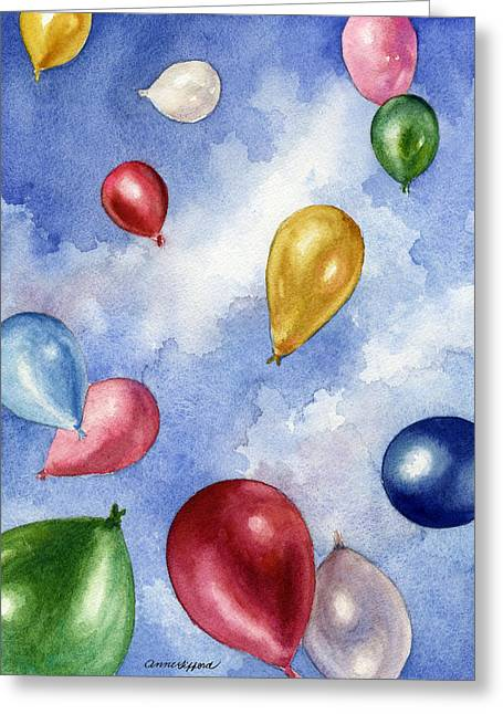Balloons In Flight Greeting Card