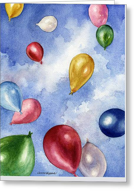 Greeting Card featuring the painting Balloons In Flight by Anne Gifford