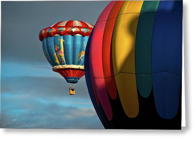 Balloons In Flights Greeting Card