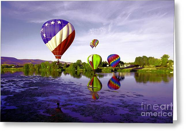 Balloons In The Yakima River Greeting Card by Jeff Swan