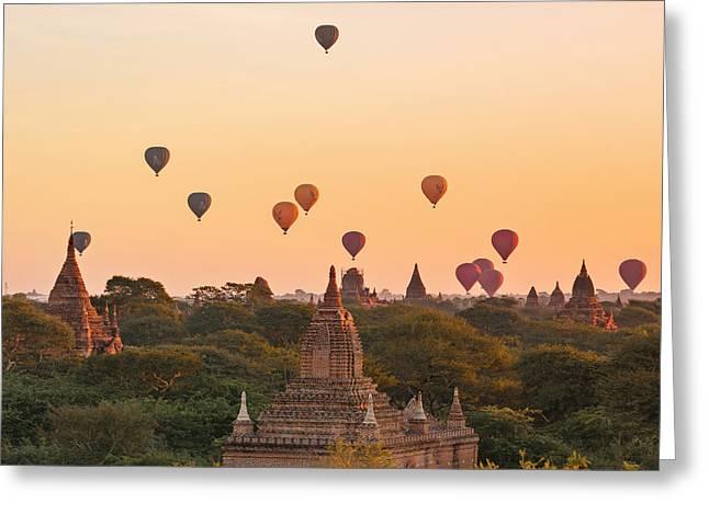 balloons over Bagan - Myanmar Greeting Card