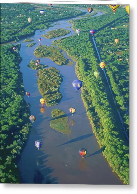 Balloons Over The Rio Grande Greeting Card by Alan Toepfer