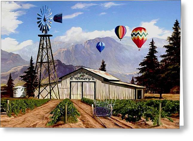 Balloons Over The Winery 1 Greeting Card by Ron Chambers