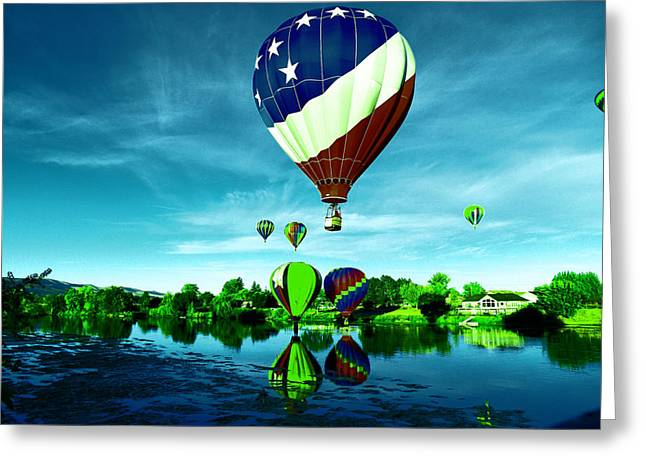 Balloons Over Water Greeting Card