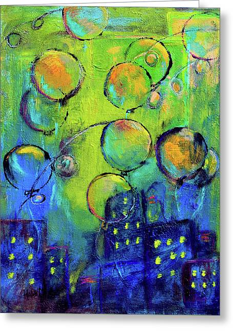 Cheerful Balloons Over City Greeting Card