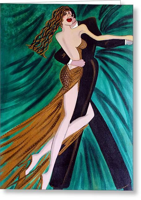 Ballroom Dancers Champagne Tango Greeting Card by Helen Gerro