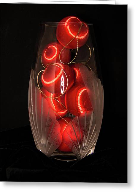 Balls In Crystal Vase Greeting Card