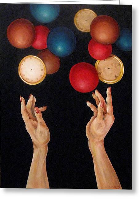 Balls In The Air Greeting Card by Lorraine Ulen