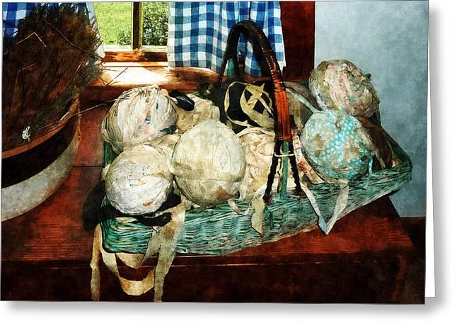 Balls Of Cloth Strips In Basket Greeting Card by Susan Savad