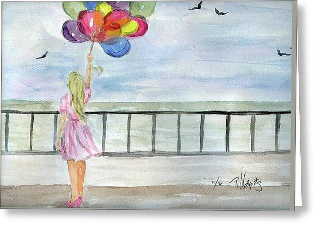 Greeting Card featuring the painting Baloons by P J Lewis