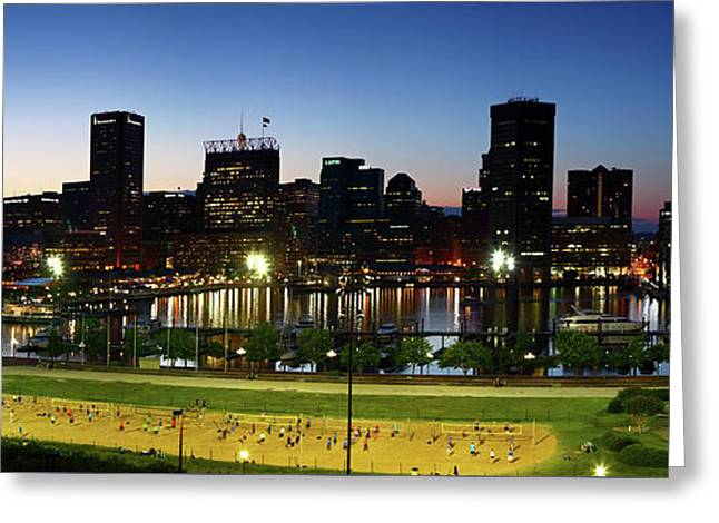 Baltimore Beach And Inner Harbor At Sunset Greeting Card