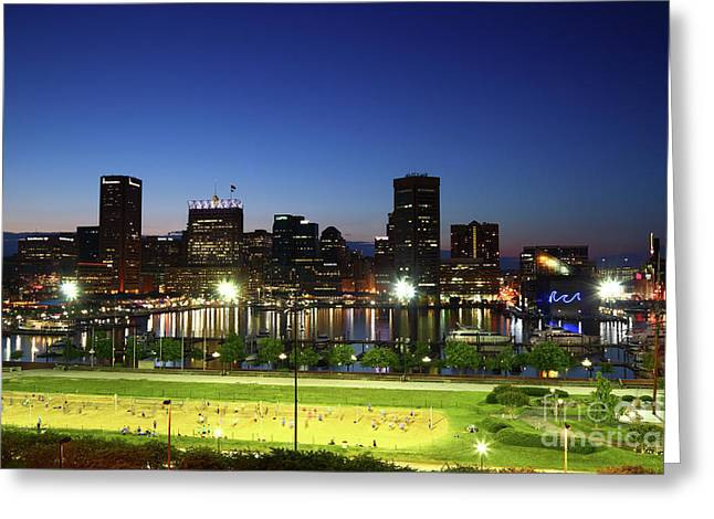 Baltimore Beach And Inner Harbor At Twilight Greeting Card
