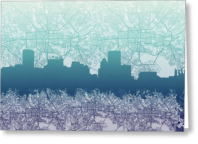 Greeting Card featuring the painting Baltimore City Skyline Map 2 by Bekim Art