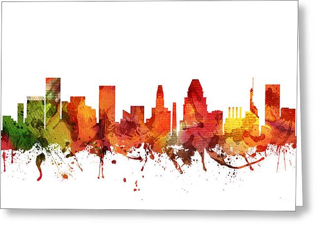 Baltimore Cityscape 04 Greeting Card by Aged Pixel
