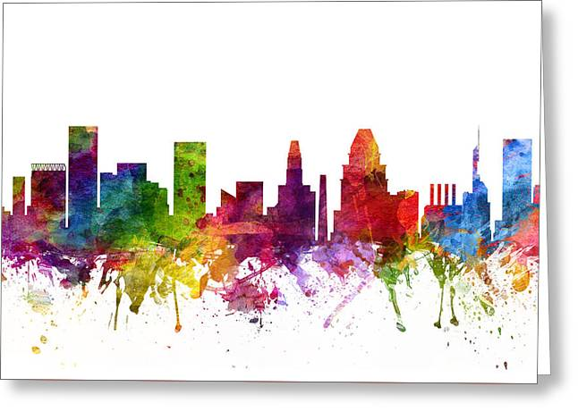 Baltimore Cityscape 06 Greeting Card by Aged Pixel