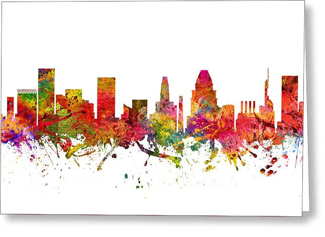 Baltimore Cityscape 08 Greeting Card by Aged Pixel