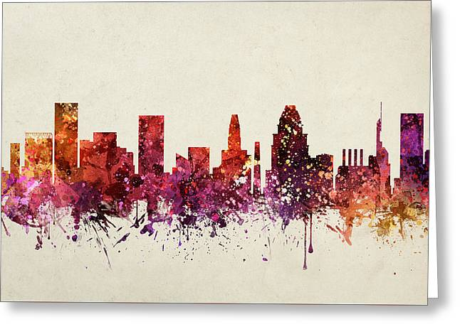 Baltimore Cityscape 09 Greeting Card by Aged Pixel