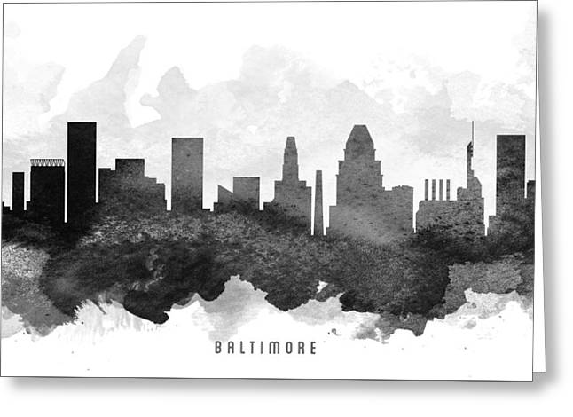 Baltimore Cityscape 11 Greeting Card by Aged Pixel
