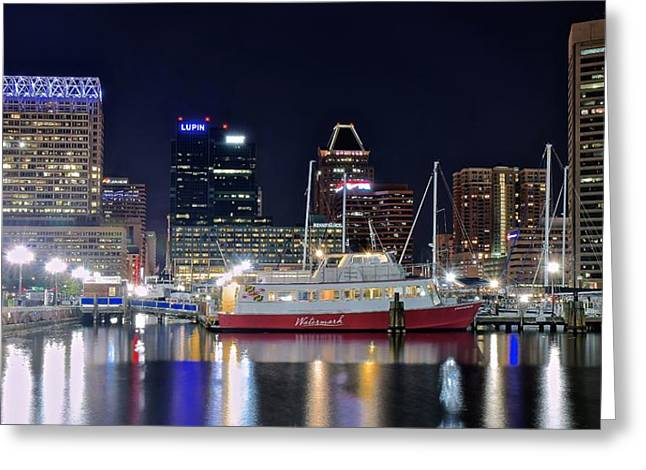 Baltimore Harbor At Night Greeting Card by Frozen in Time Fine Art Photography