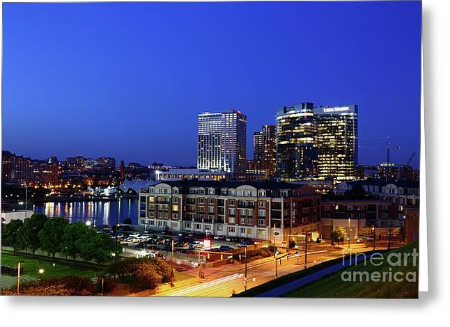 Baltimore Harbor East District At Twilight Greeting Card