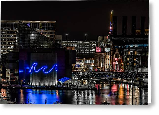 Baltimore Inner Harbor At Night Hdr Greeting Card by Keith Yates