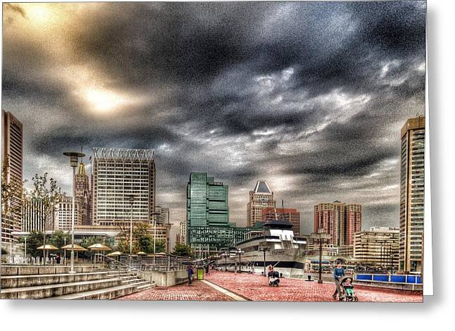 Baltimore Inner Harbor Greeting Card by Marianna Mills