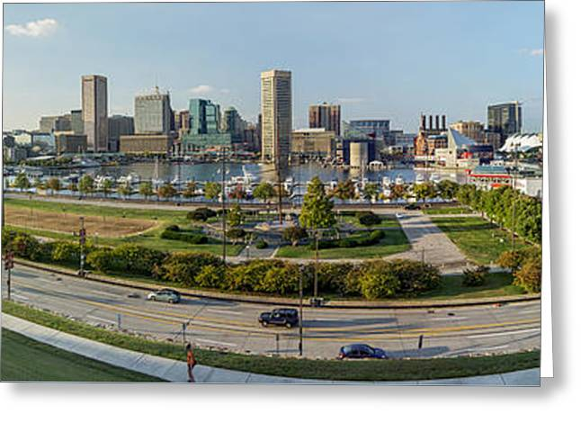 Baltimore - Inner Harbor - Pano Greeting Card by Brian Wallace