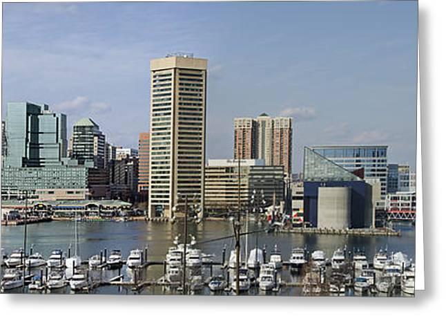 Baltimore Inner Harbor Panorama - Maryland Greeting Card by Brendan Reals