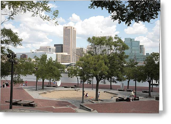 Baltimore Inner Harbor Play Area Greeting Card