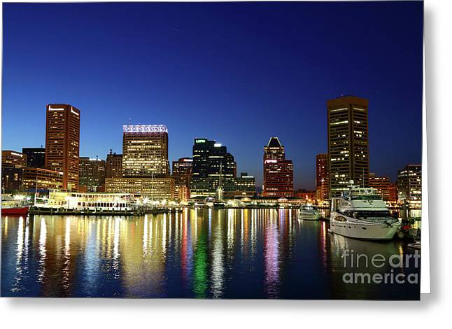 Baltimore Inner Harbor Reflections At Twilight Greeting Card