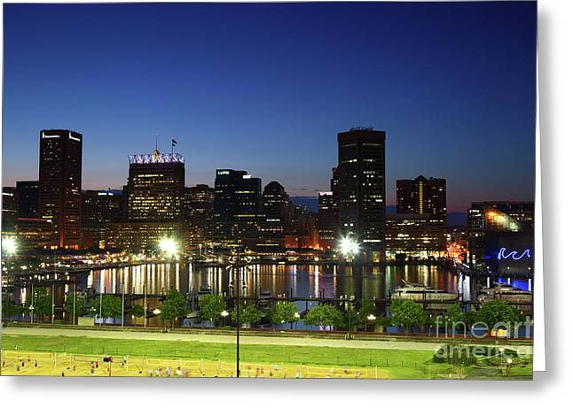 Baltimore Inner Harbor Skyline At Twilight Greeting Card